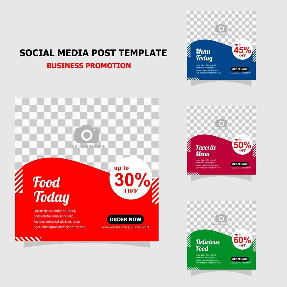 Simple template social media promotion style seventeen vector