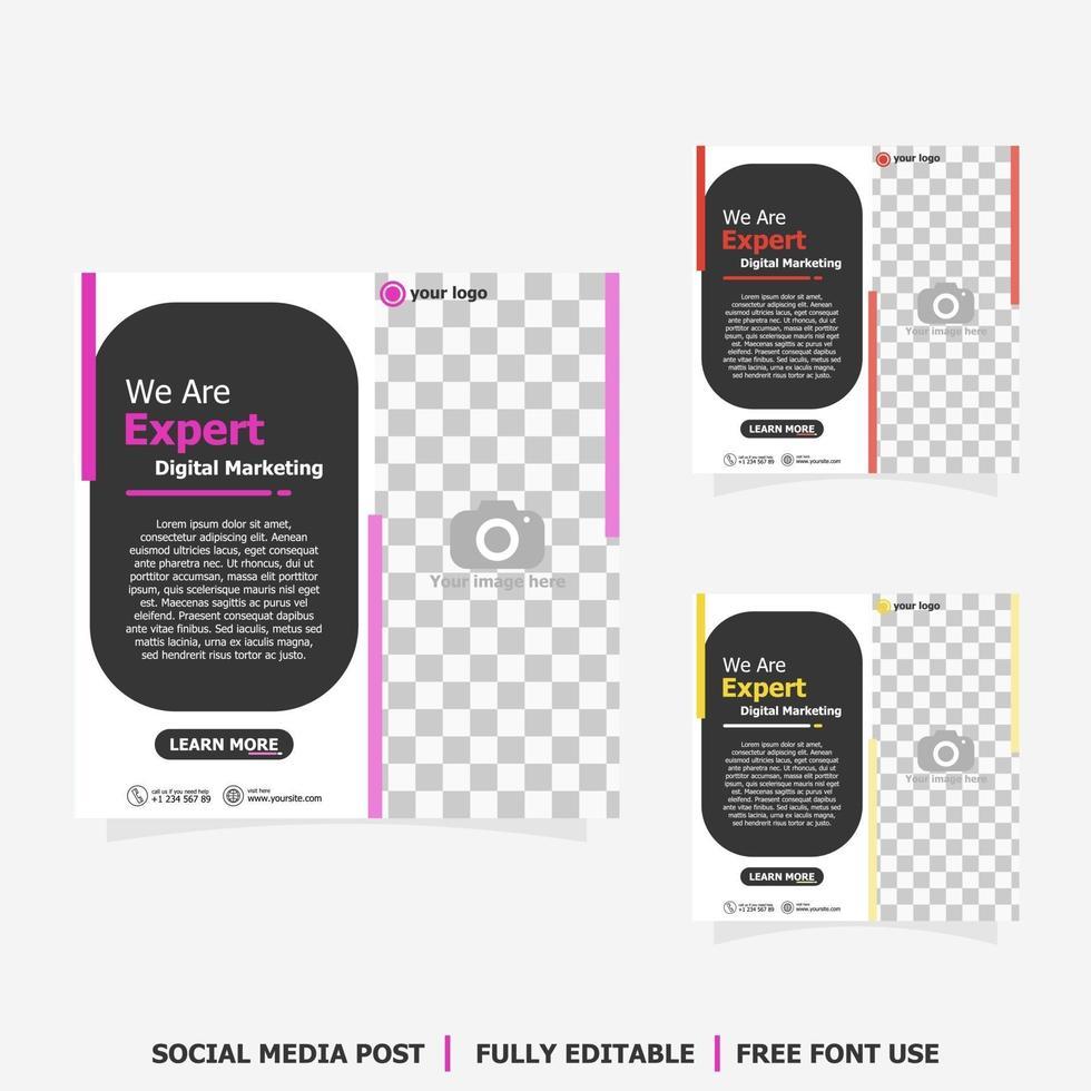 Social media post for digital marketing style three vector