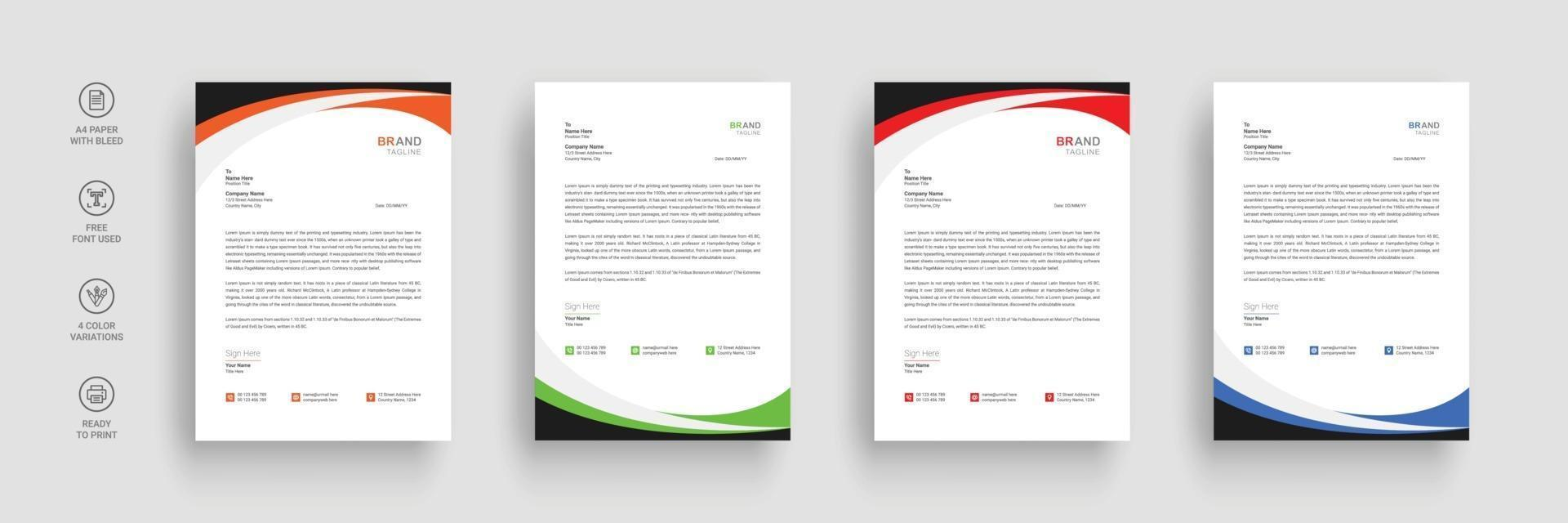Corporate business letterhead in flat style vector