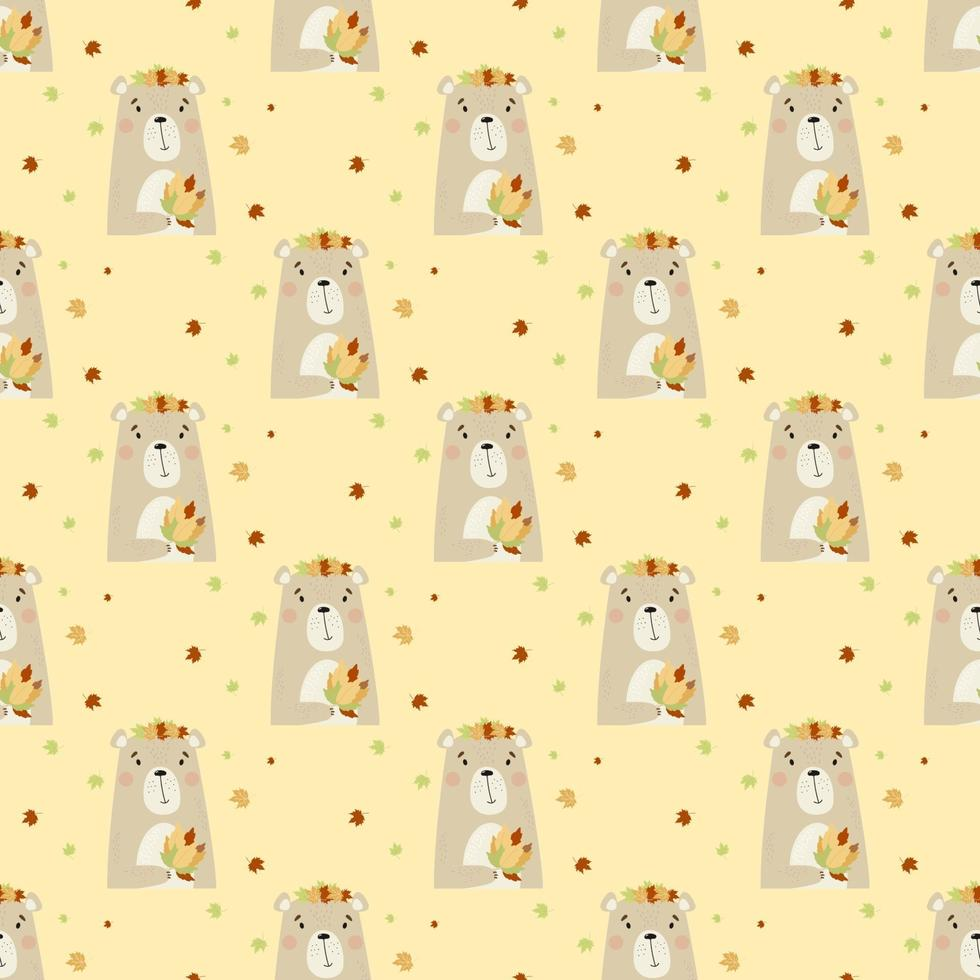 Seamless pattern with Cute autumn bear with bouquet of autumn leaves vector
