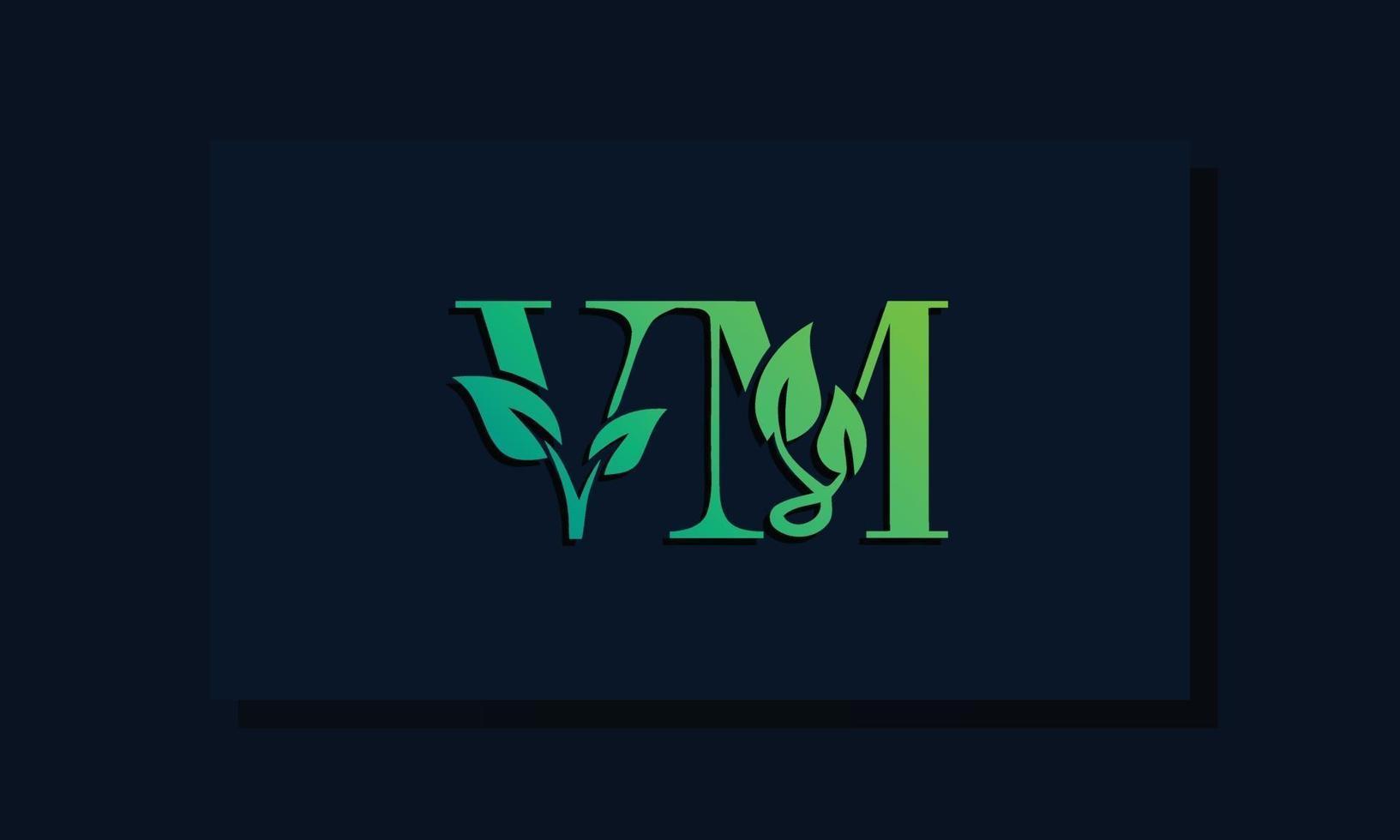 Minimal leaf style Initial VM logo vector