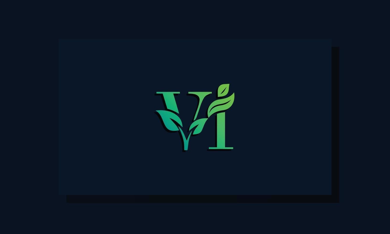 Minimal leaf style Initial VI logo vector
