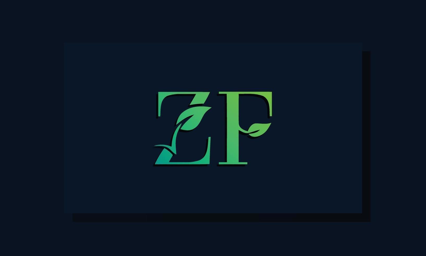 Minimal leaf style Initial ZF logo vector