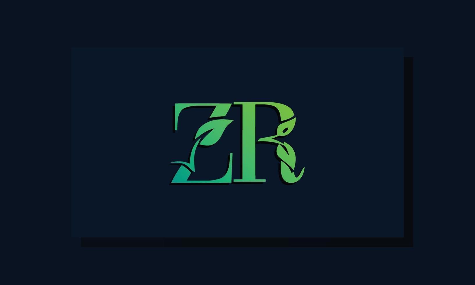 Minimal leaf style Initial ZR logo vector