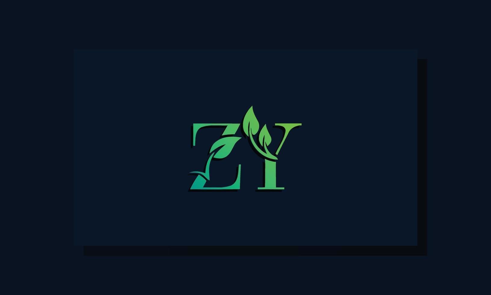 Minimal leaf style Initial ZYA logo vector