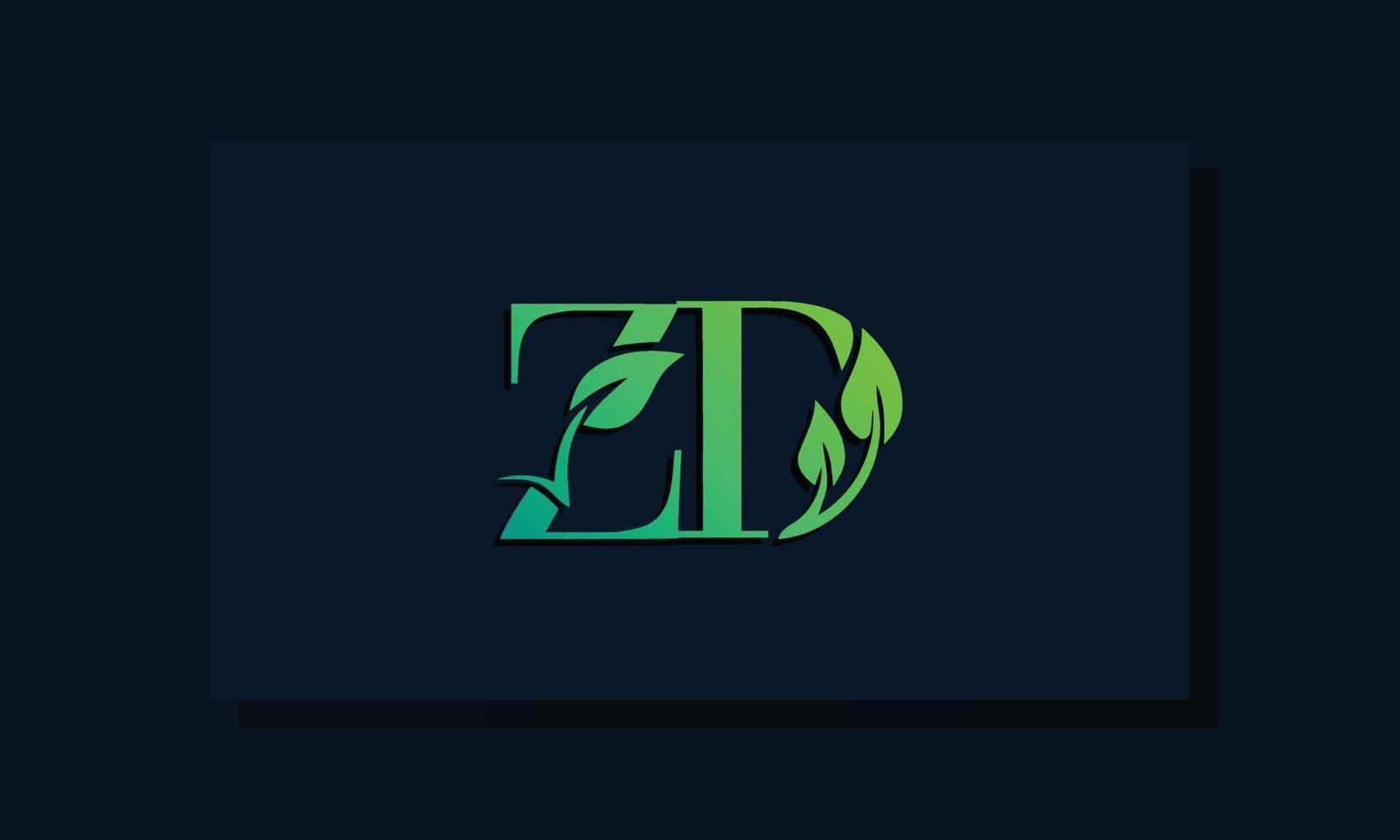 Minimal leaf style Initial ZD logo vector