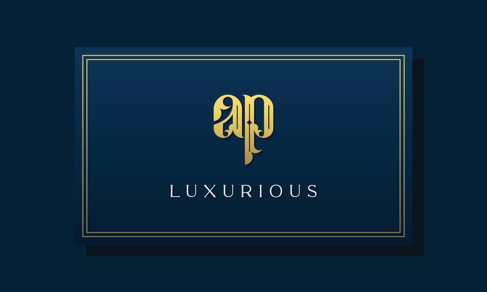 Vintage royal initial letter AP logo. vector