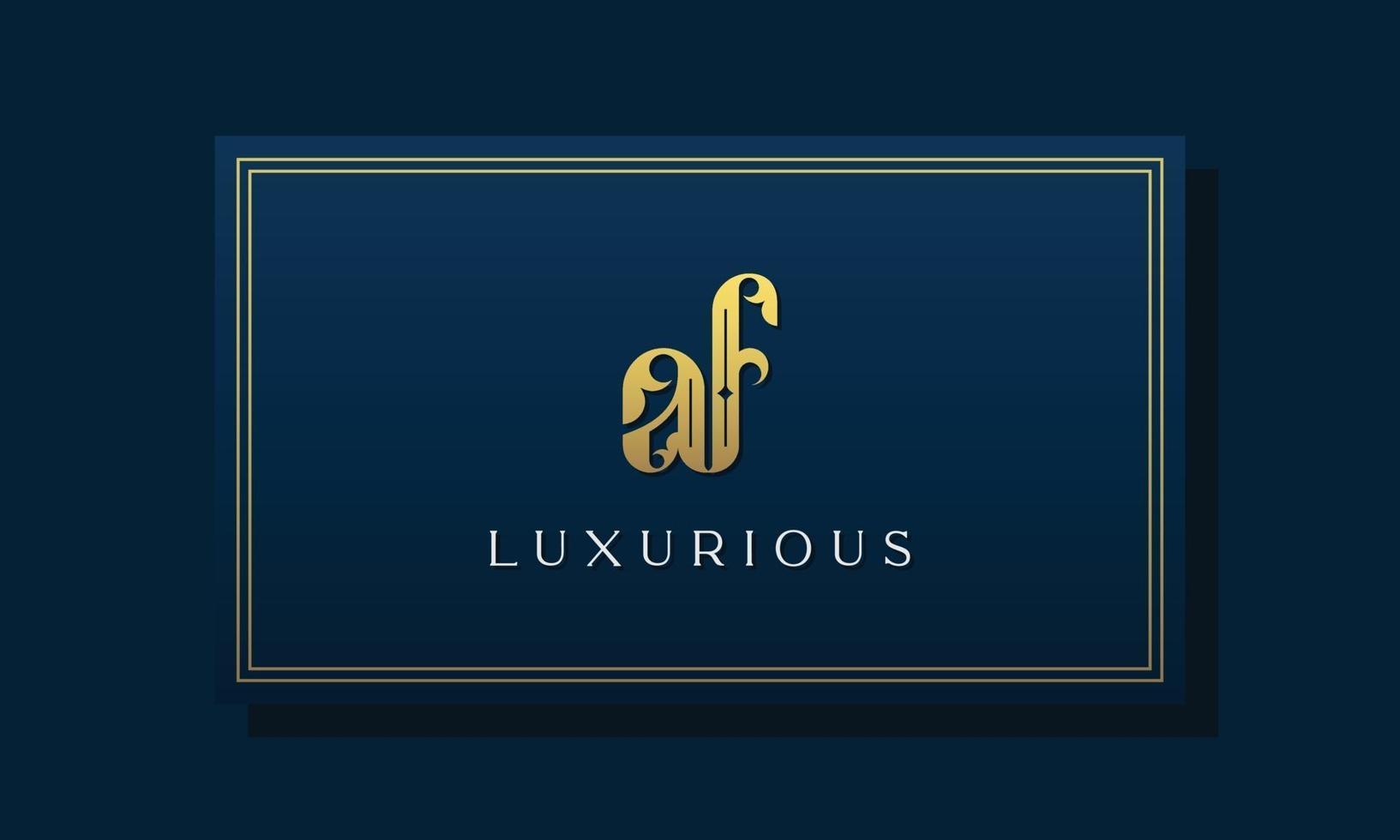 Vintage royal initial letter AF logo. vector