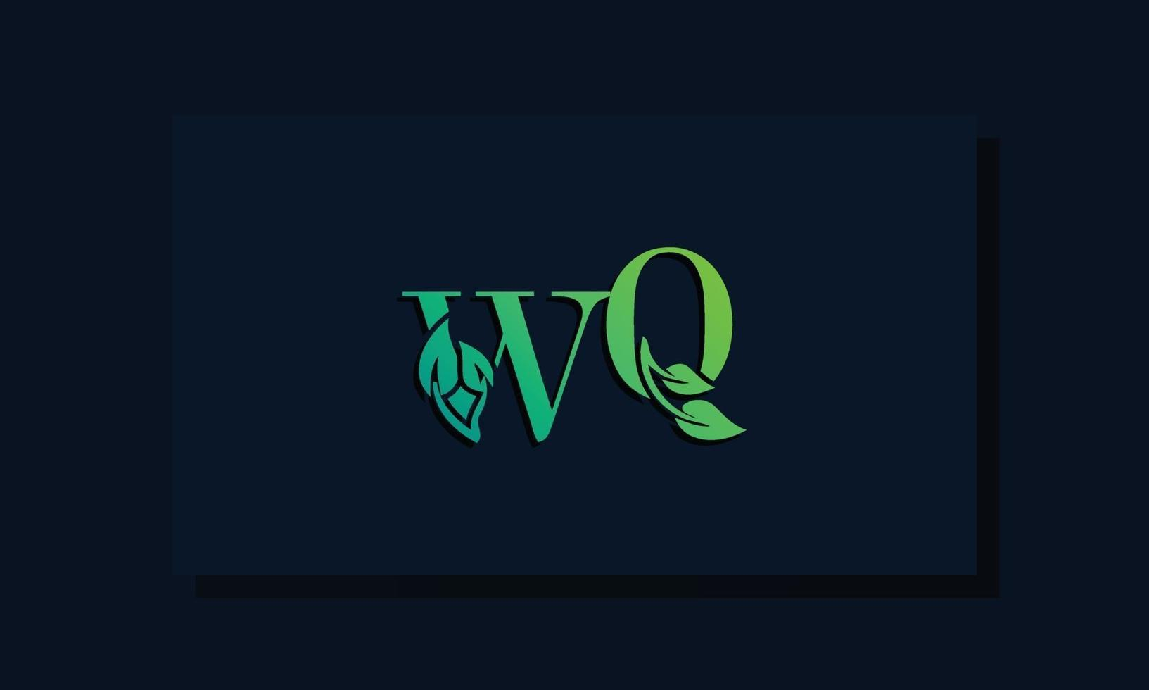 Minimal leaf style Initial WQ logo vector