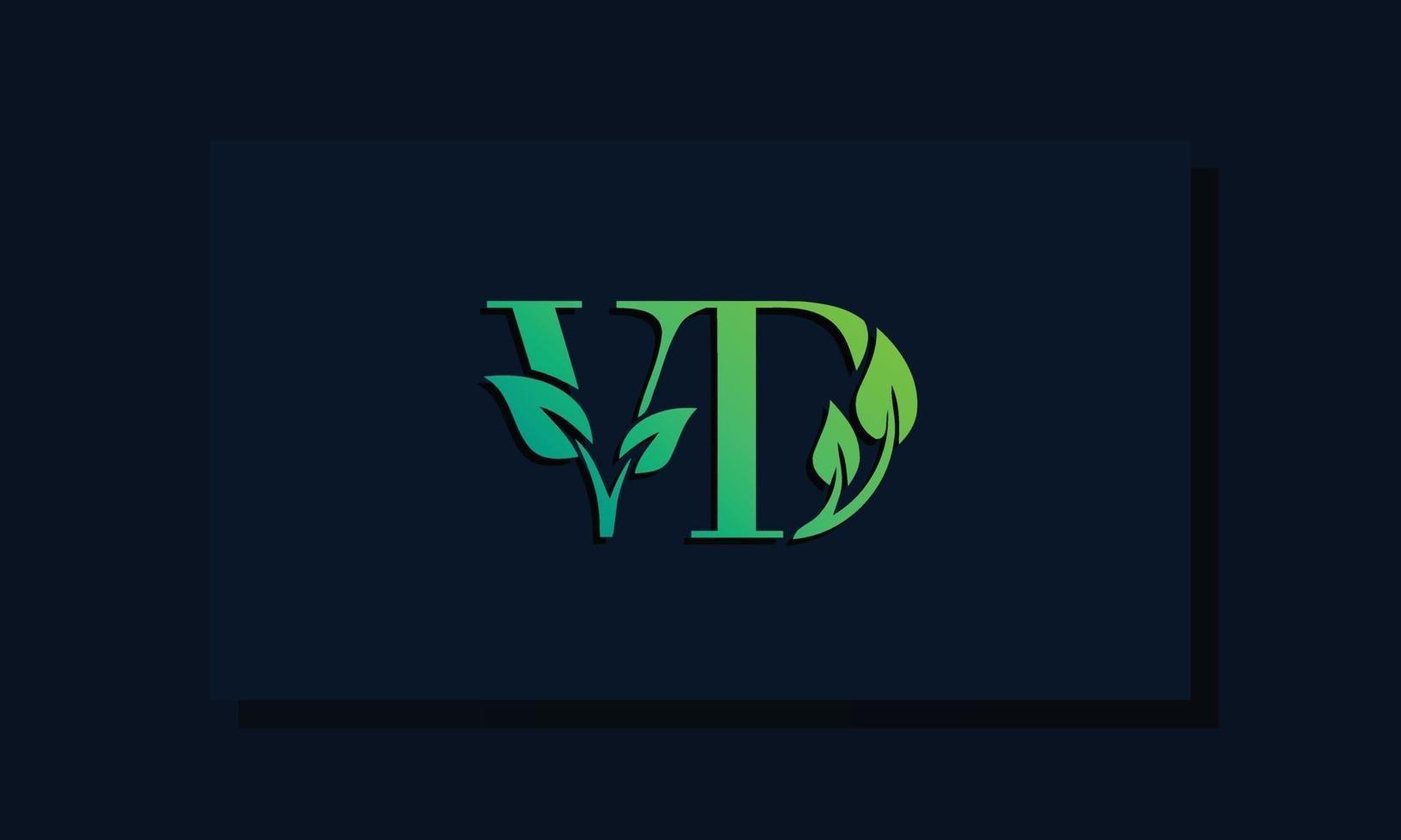 Minimal leaf style Initial VD logo vector