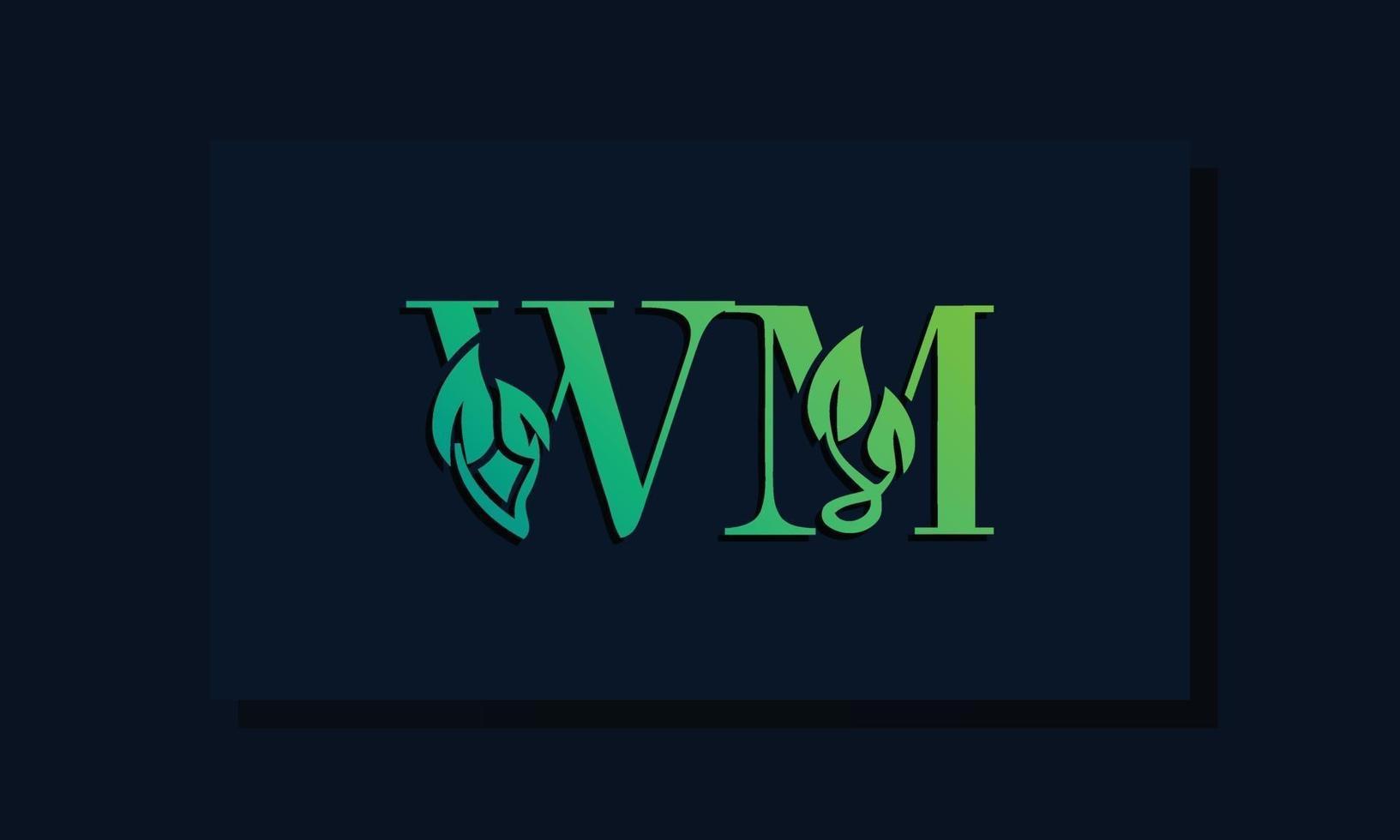 Minimal leaf style Initial WM logo vector