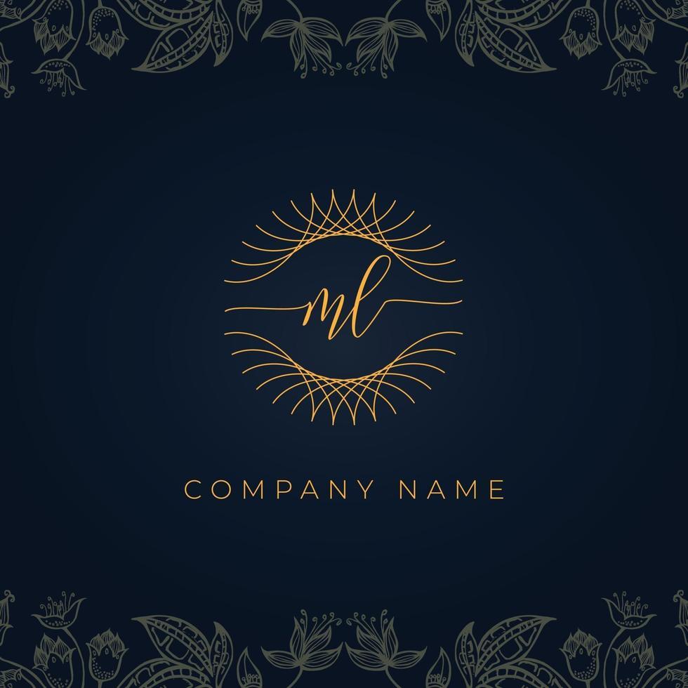 Elegant luxury letter ML logo. vector