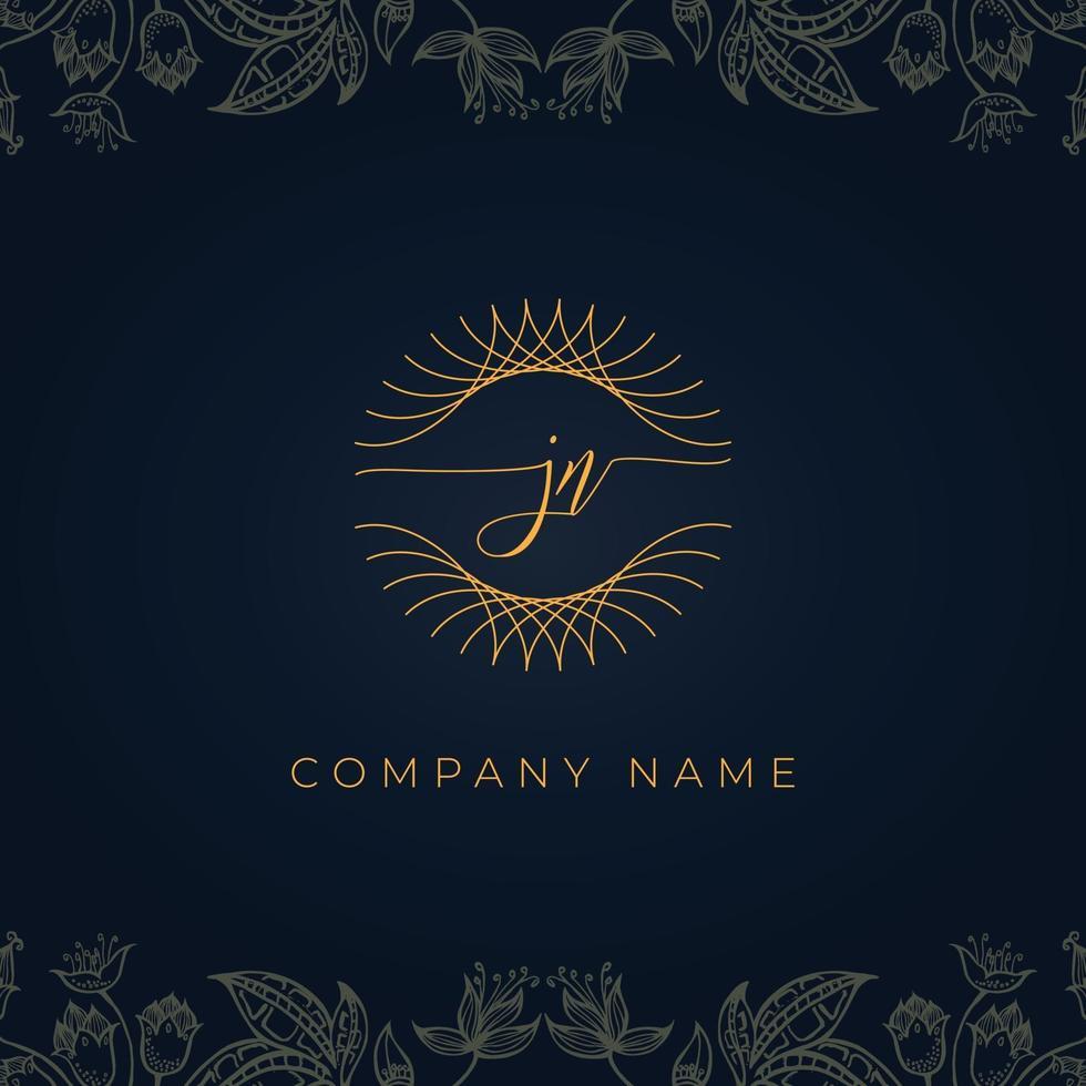 Elegant luxury letter JN logo. vector