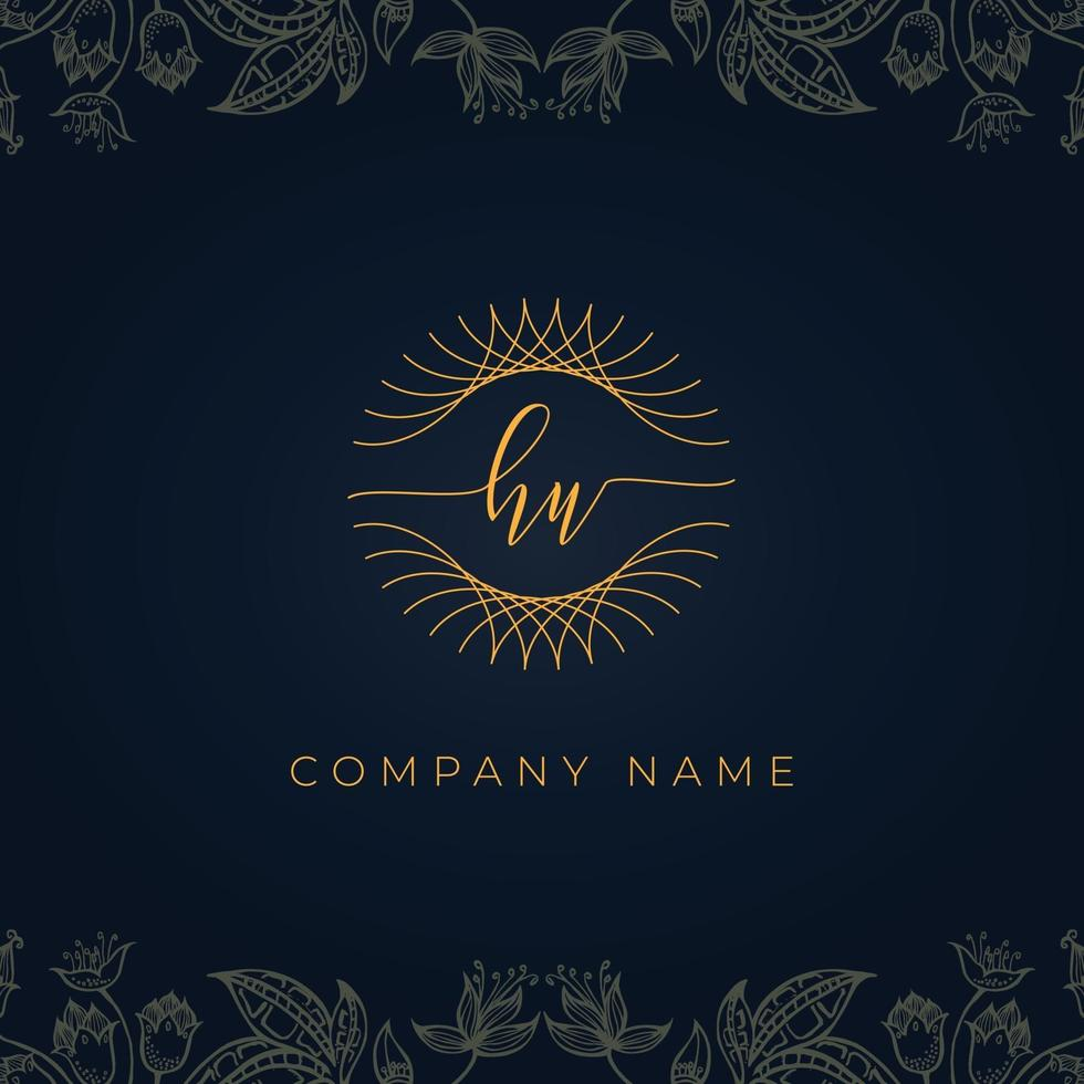 Elegant luxury letter HU logo. vector