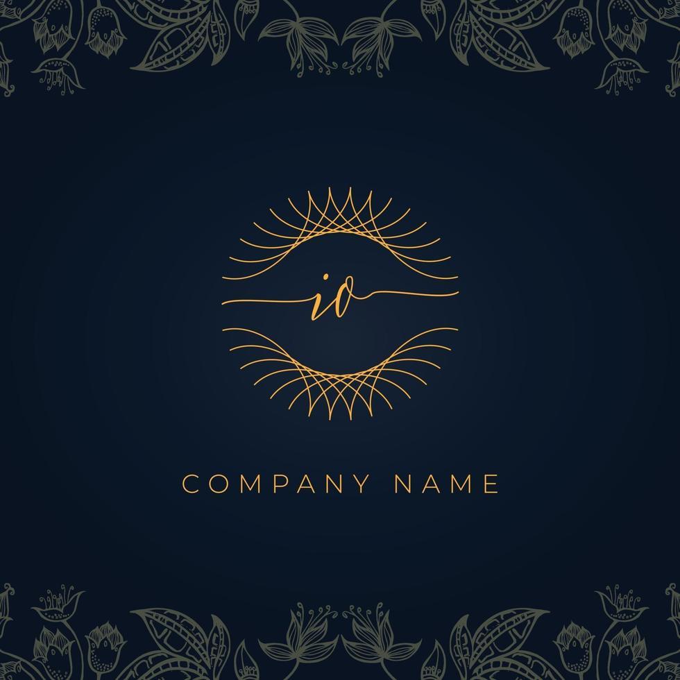 Elegant luxury letter IO logo. vector