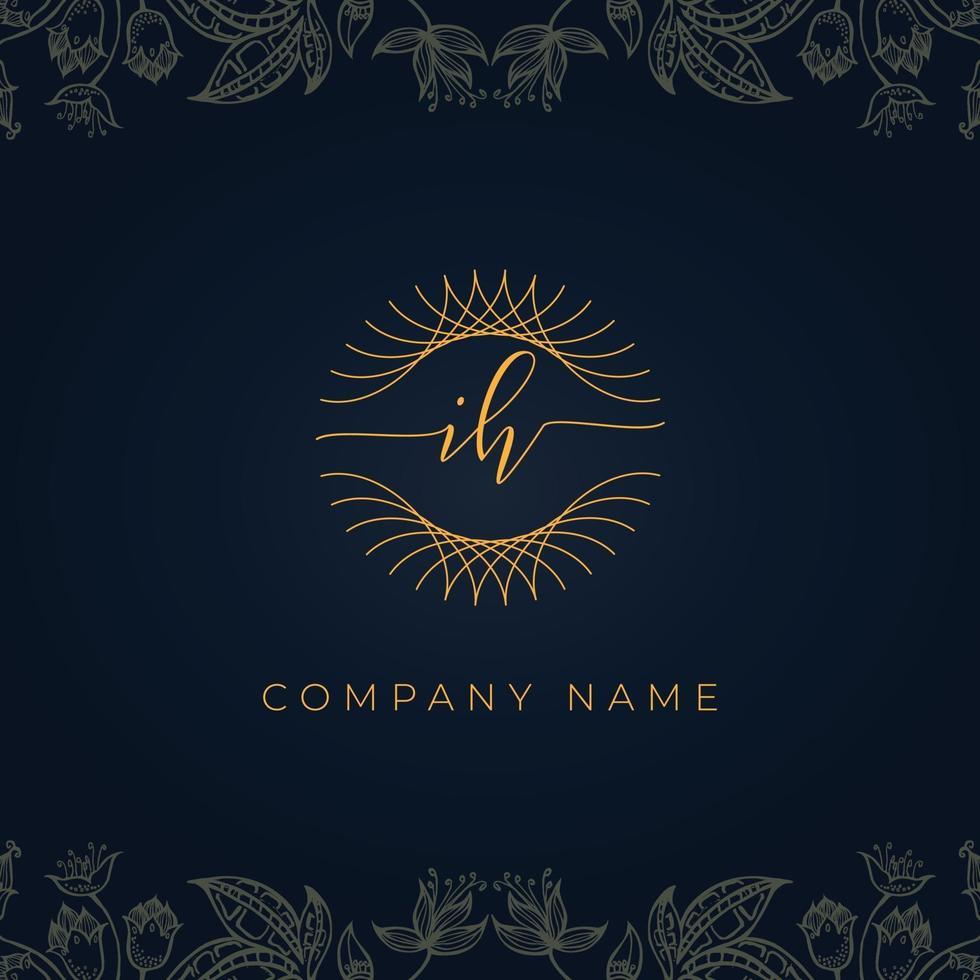Elegant luxury letter IH logo. vector