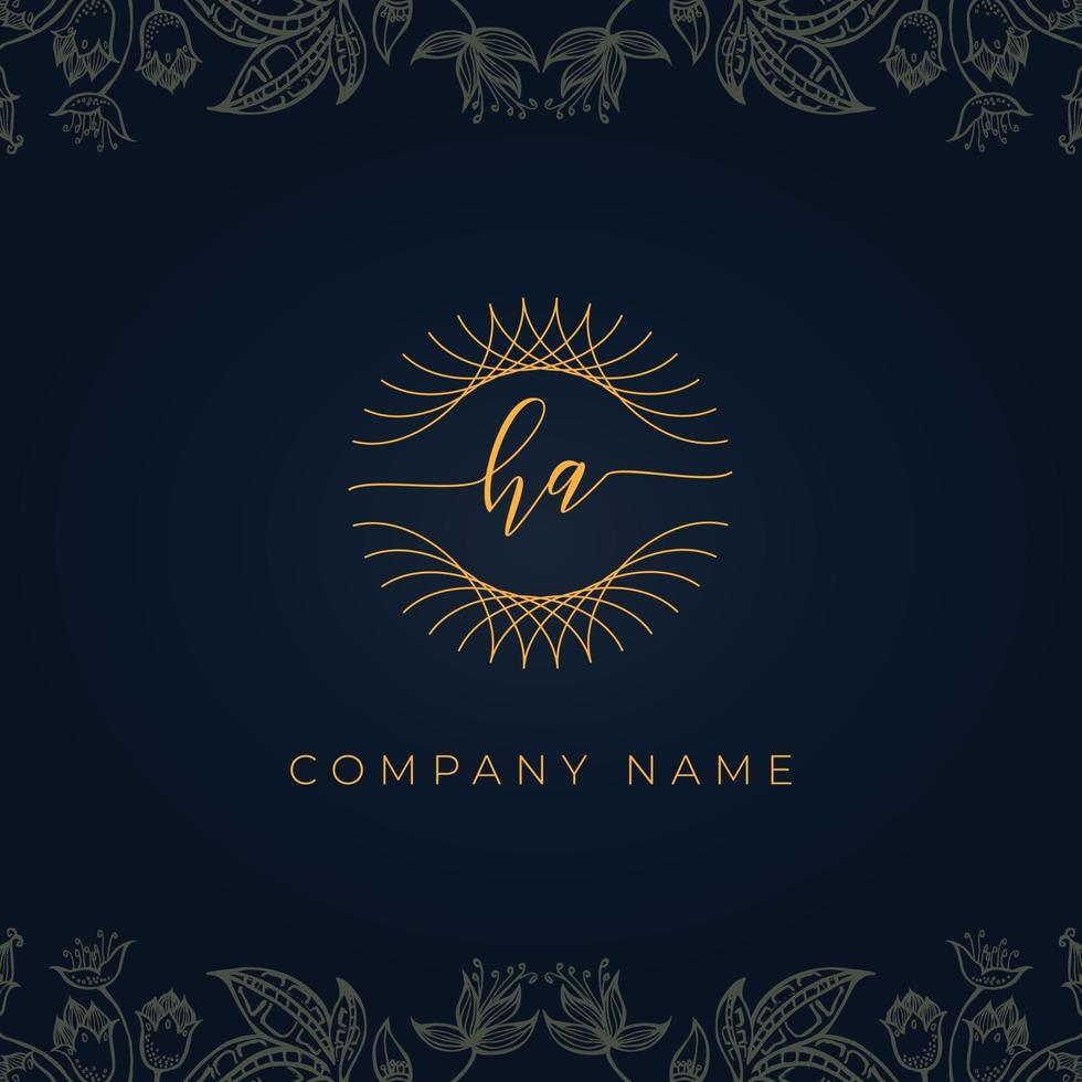 Elegant luxury letter HA logo. vector