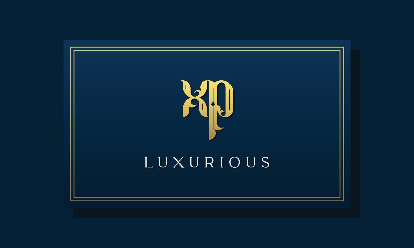 Vintage royal initial letters XP logo. vector