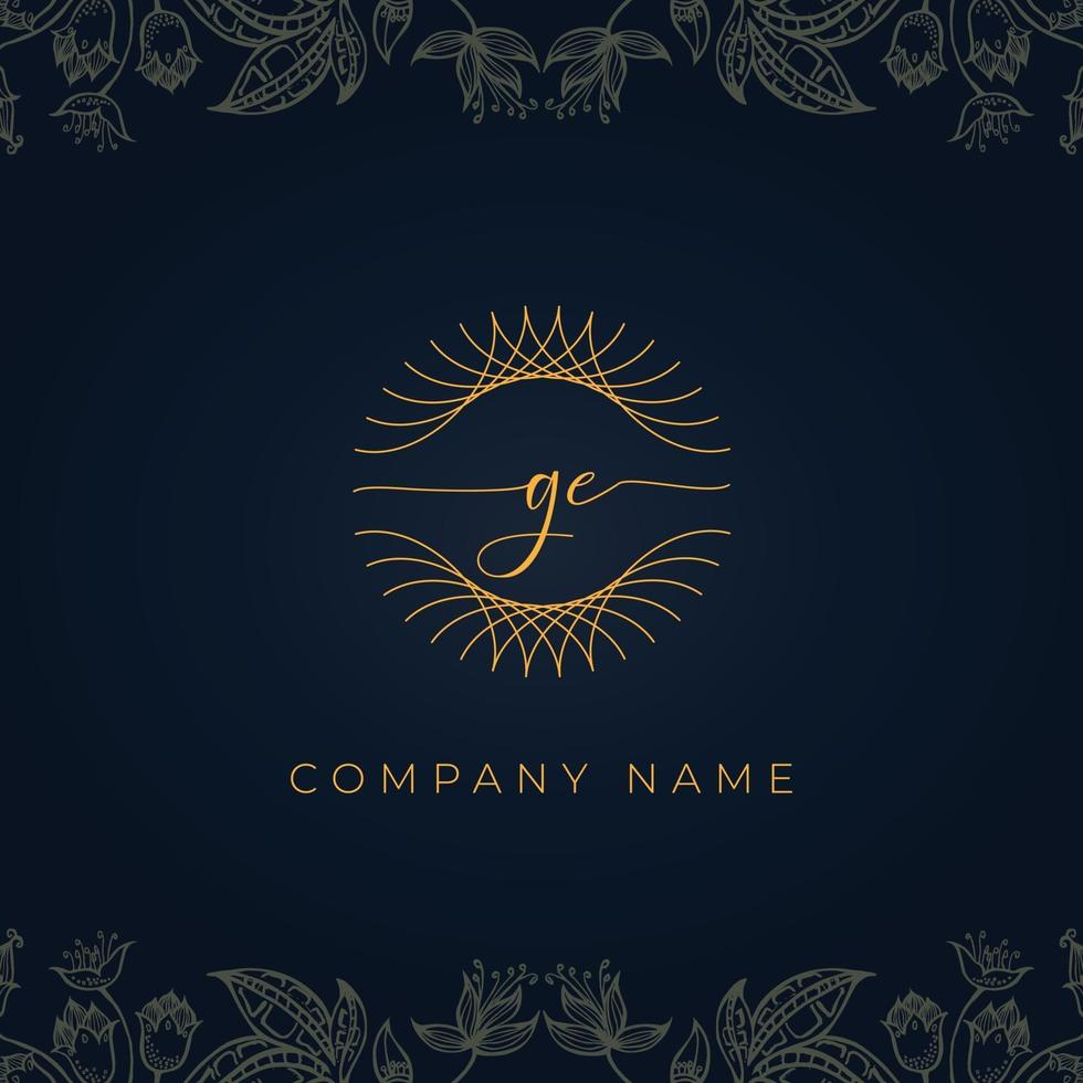 Elegant luxury letter GE logo. vector