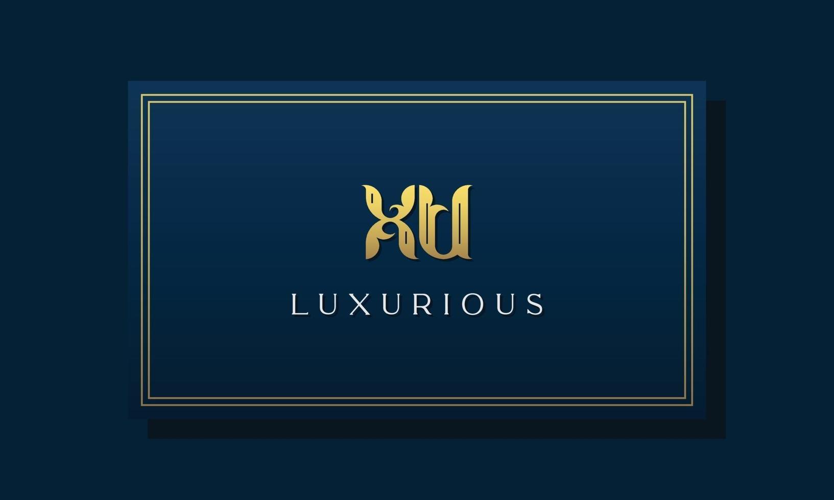 Vintage royal initial letters XU logo. vector