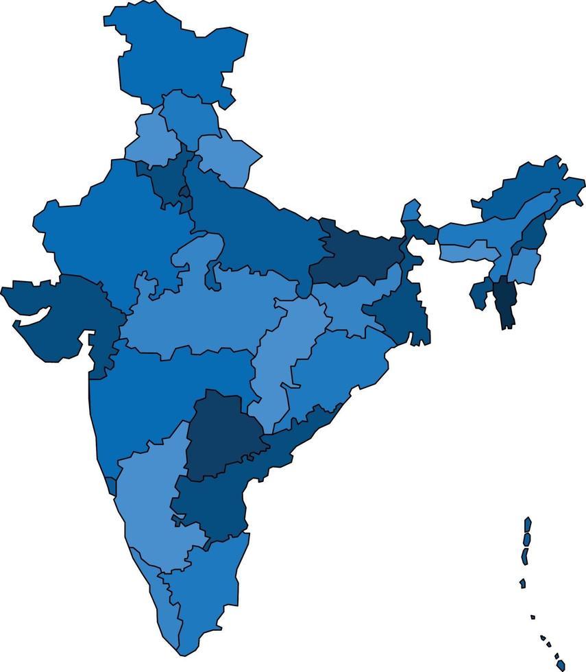 Blue outline India map on white background. Vector illustration.