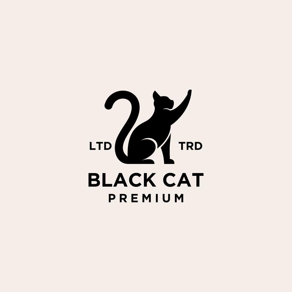 premium black cat logo vector icon illustration design