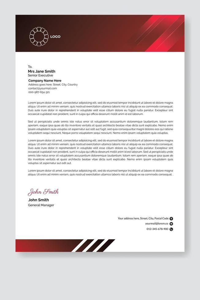 Modern letterhead template. vector