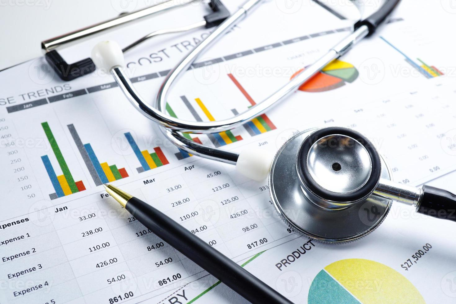 Stethoscope on graph paper. Financial account business data. photo