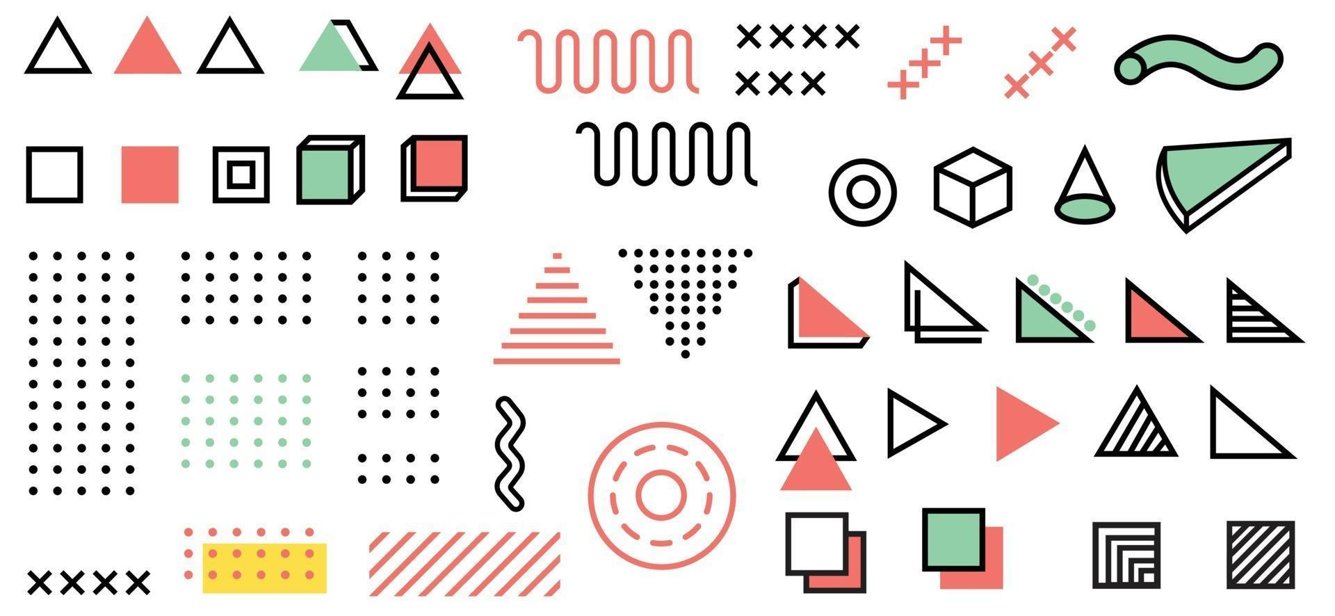 Memphis style bundle design collection illustration vector