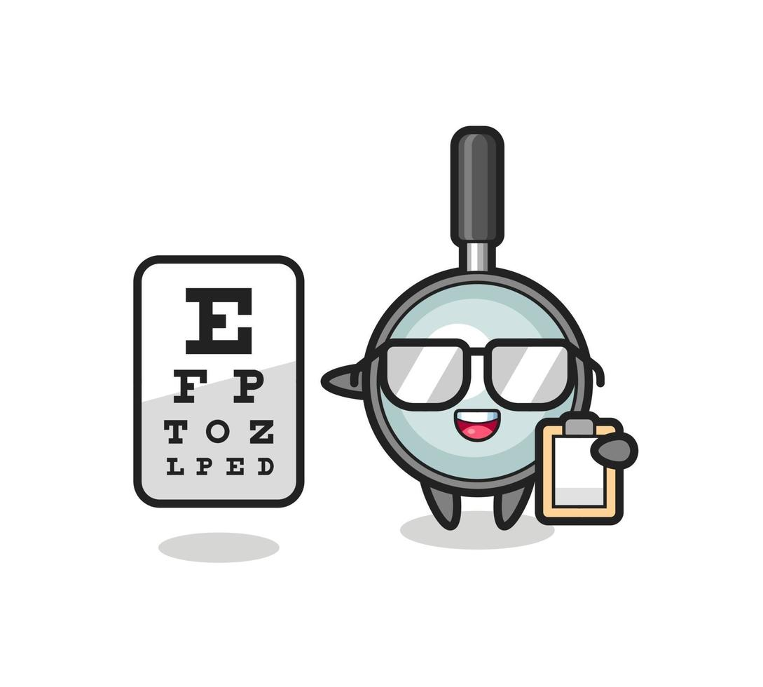 Illustration of magnifying glass mascot as an ophthalmologist vector