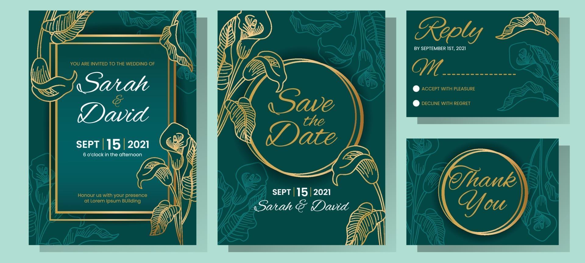 Lily Floral Wedding Invitation vector