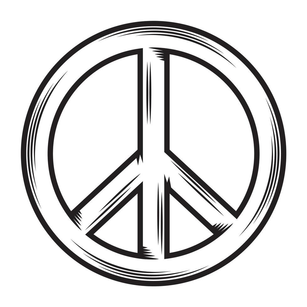 Peace love flat line concept design Illustration vector. vector