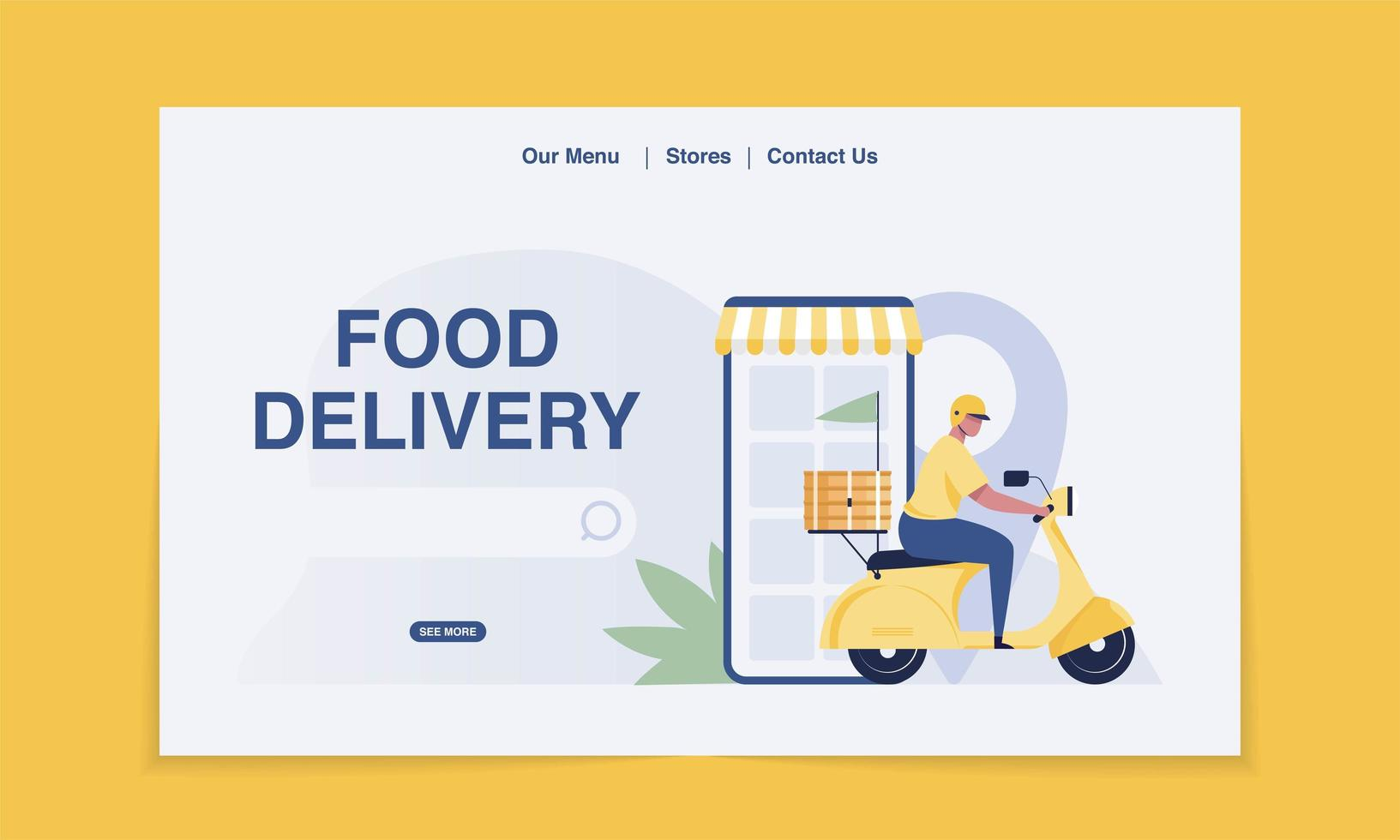 Delivery Landing Page. food Delivery by Scooter.  vector illustration