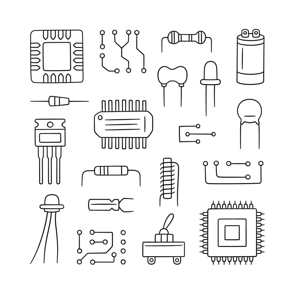 Electronic radio components. Set of microchip, diode vector