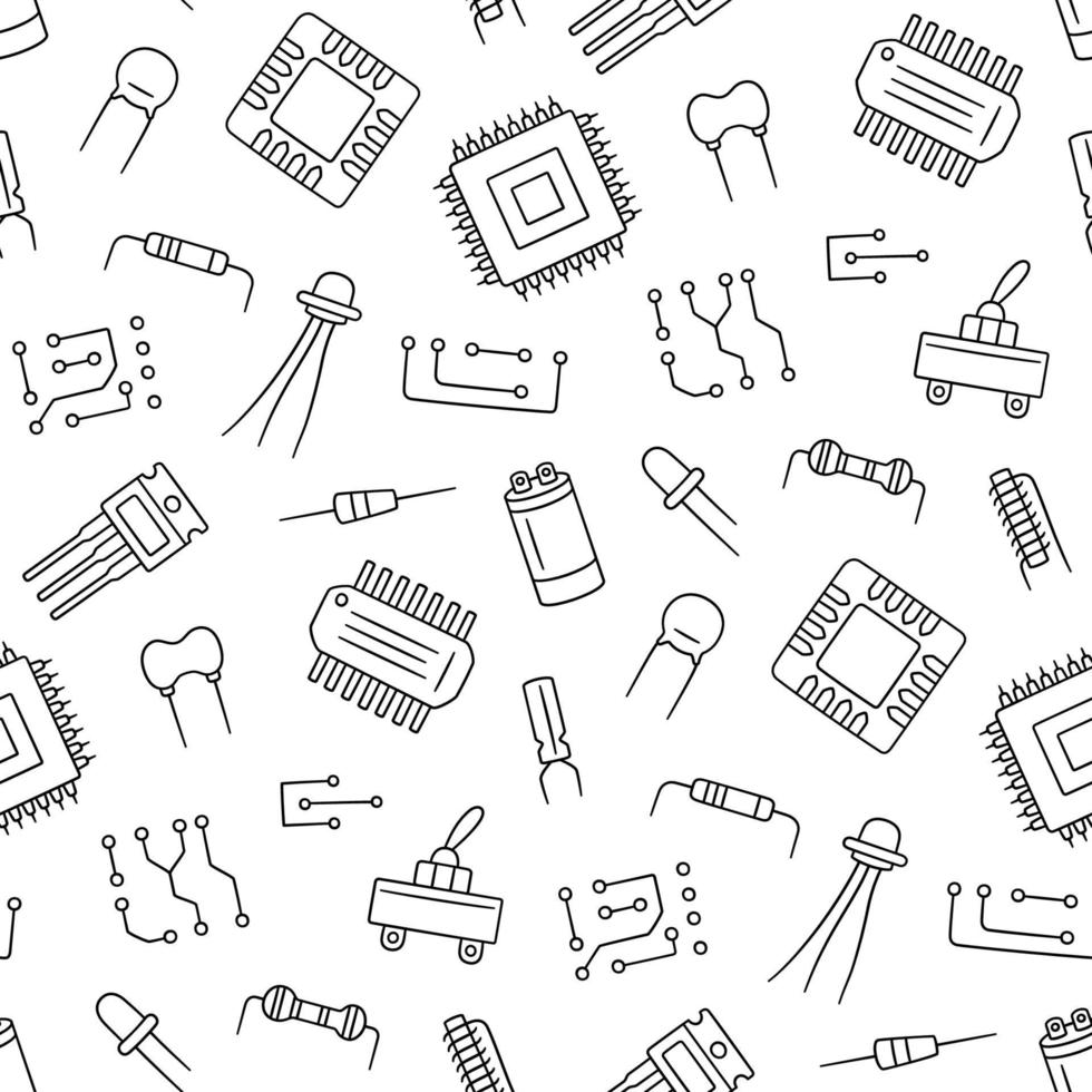 Seamless pattern from electrical components. Microchip, diode vector