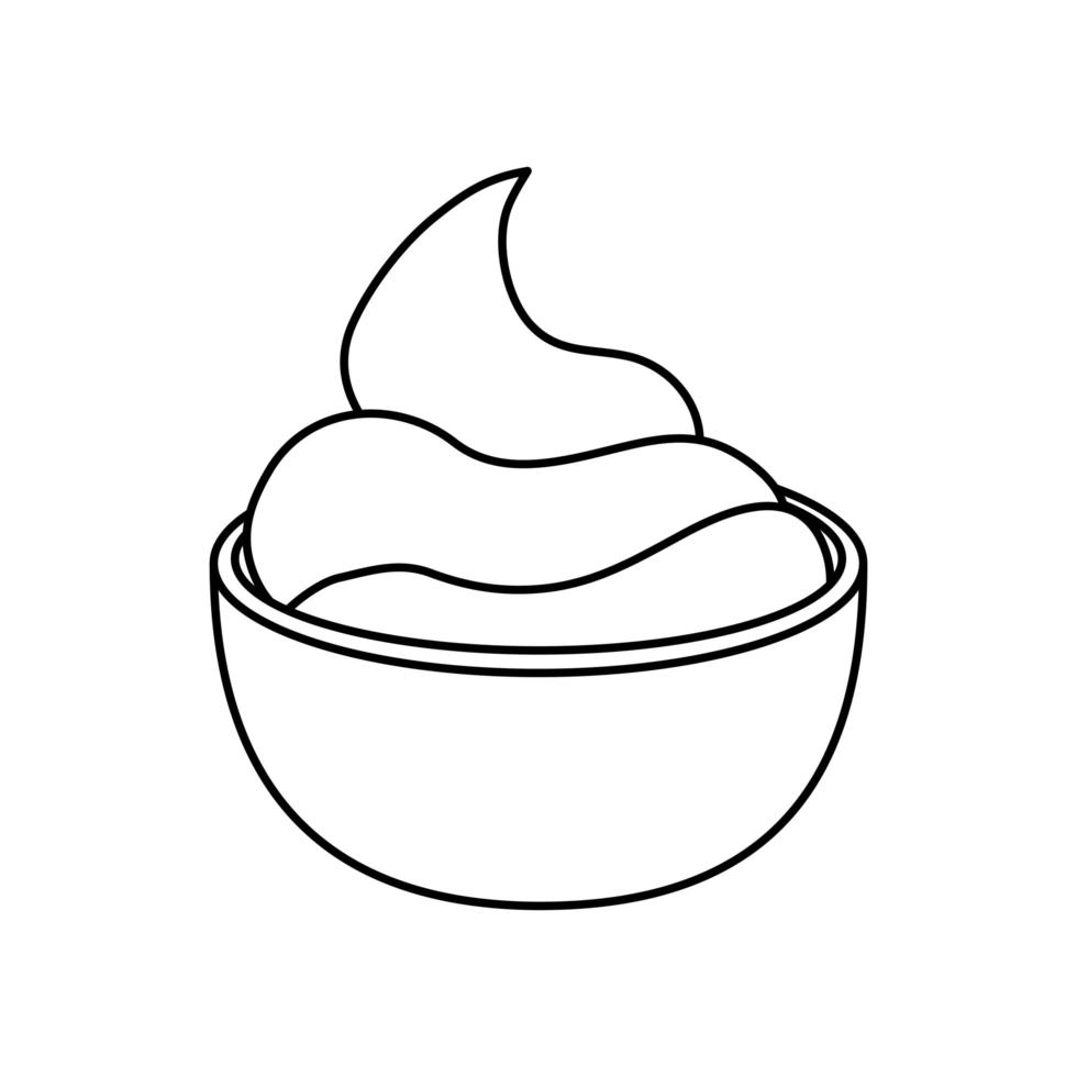 delicious sauce in cup isolated icon vector