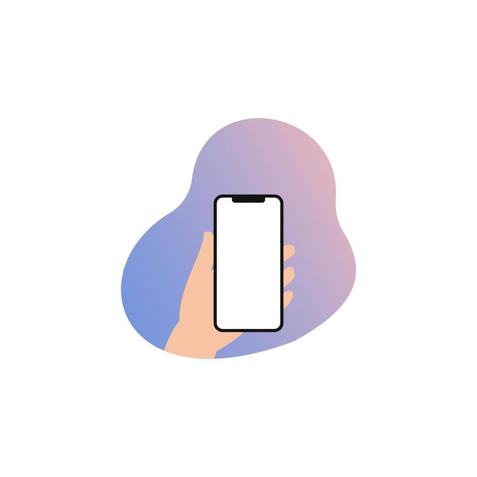 Flat design hand holding smartphone. Vector illustration.