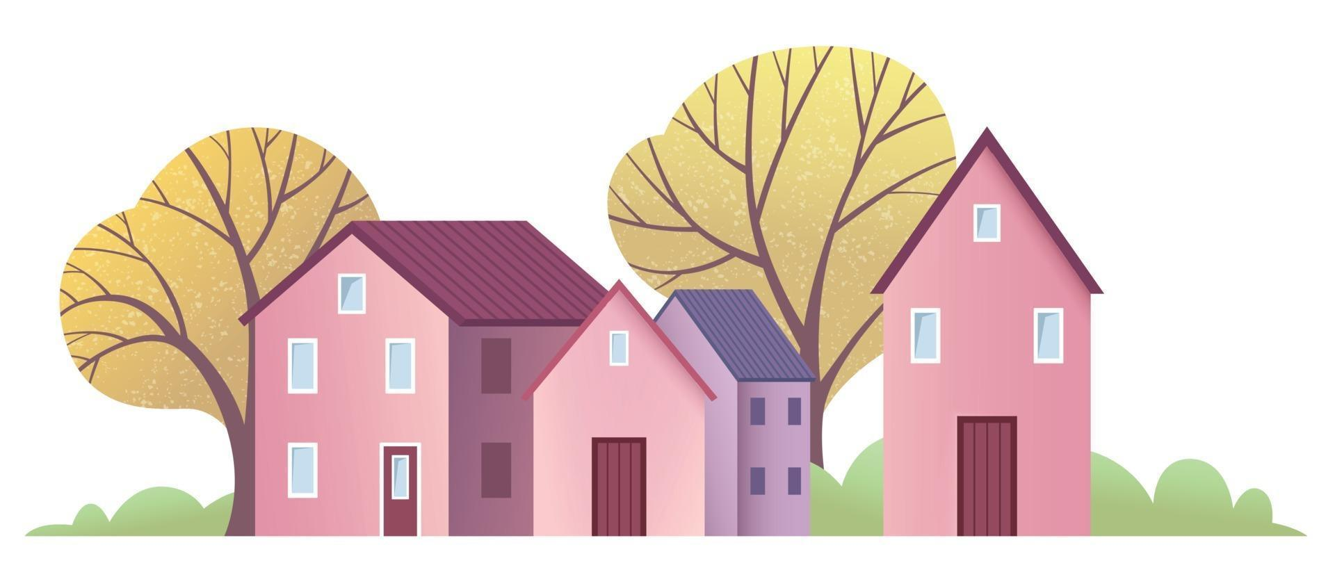 Small town with cute pink and purple houses with autumn trees vector