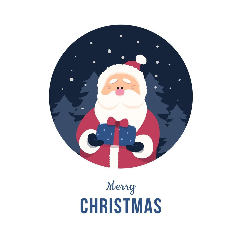 Santa claus holding a small gift box in flat design vector