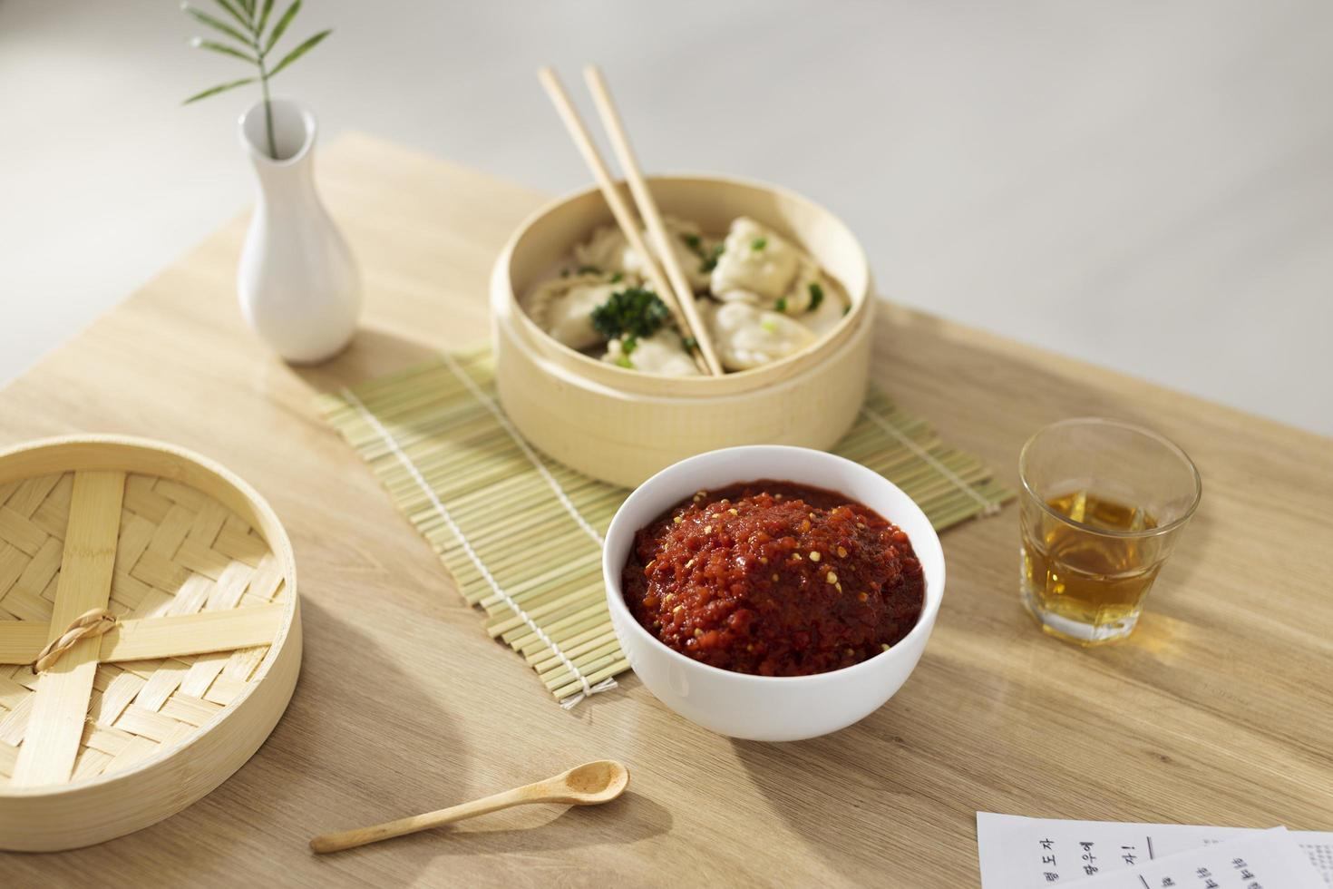 Delicious meal with sambal composition photo