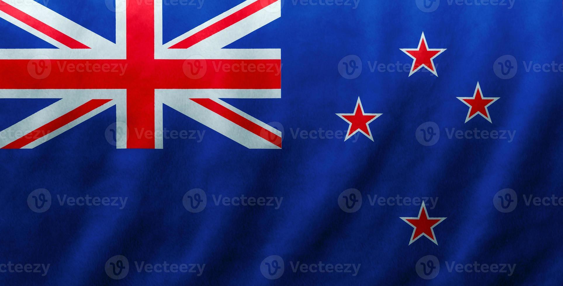 Fondo de textura de onda de seda de tela de bandera de Nueva Zelanda, ilustración 3d. foto
