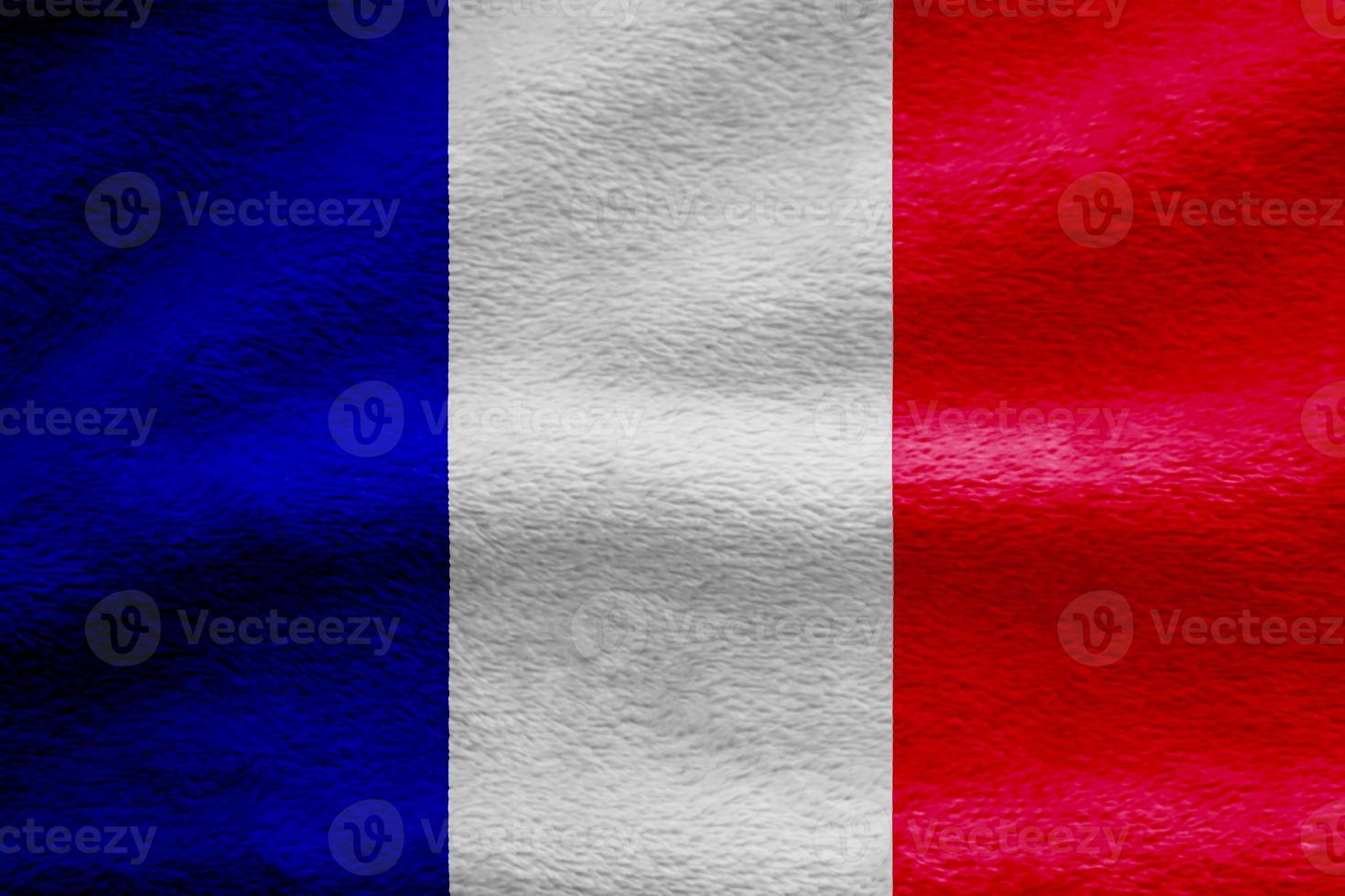 Fondo de textura de onda de tela de bandera de Francia, ilustración 3d. foto