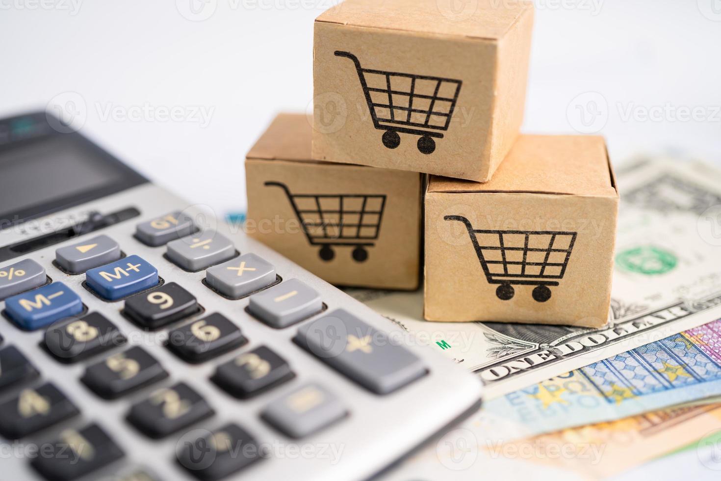 caja de carrito de compras con lupa en dinero de la ue y dólar estadounidense. foto