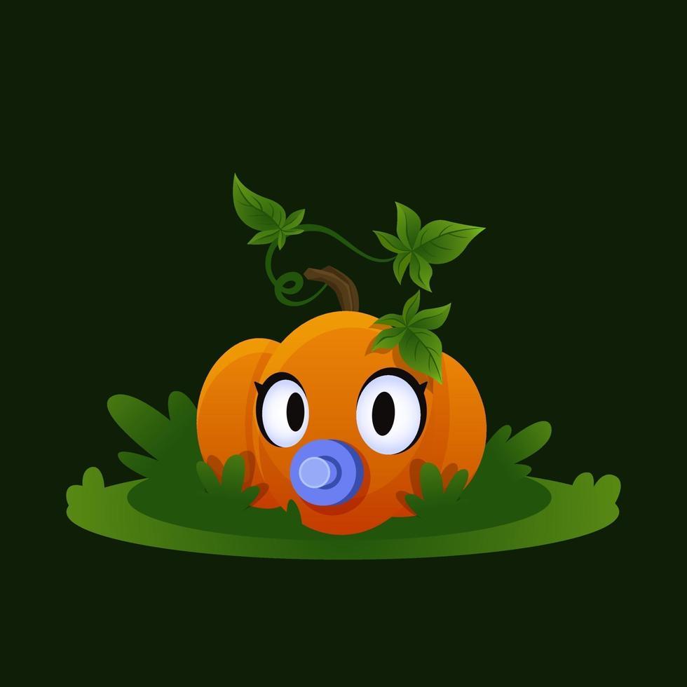 Baby pumpkin on grass. Small vegetable. Autumn cartoon vegetable vector