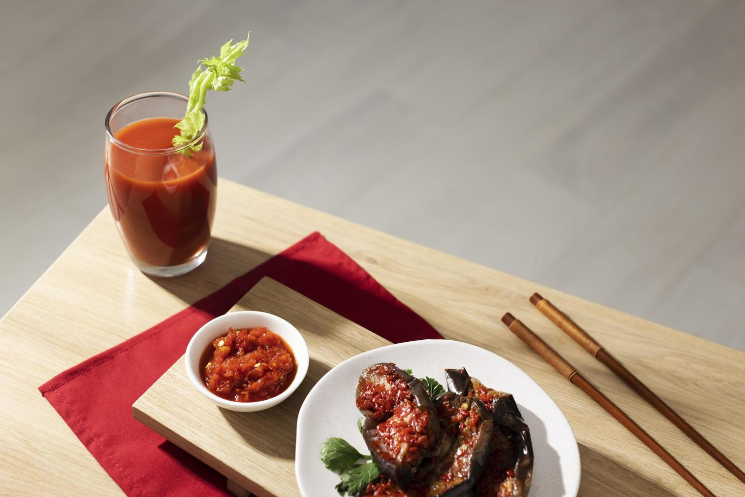 The nutritious meal with sambal arrangement photo