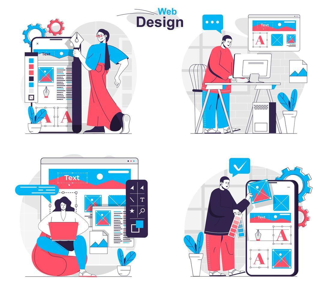 Web design concept set people isolated scenes in flat design vector