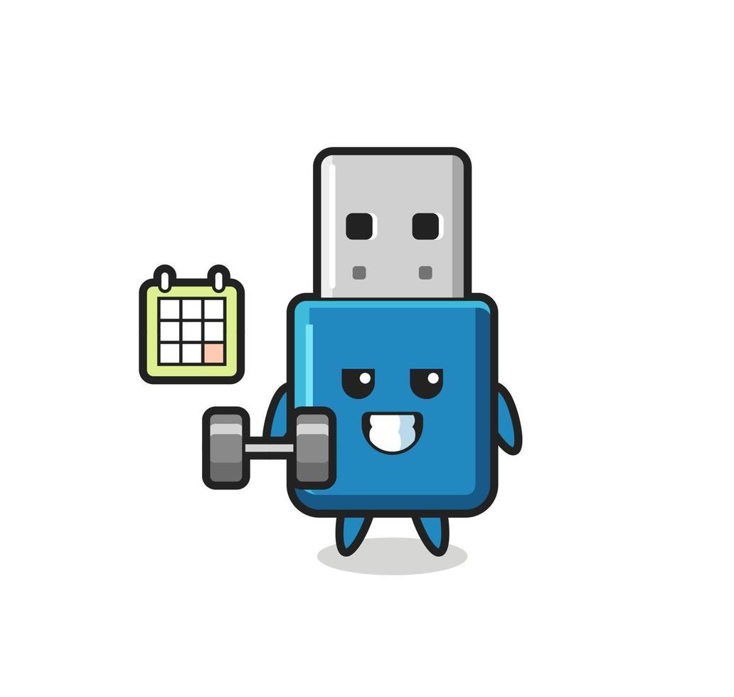 unidad flash usb mascota de dibujos animados haciendo fitness con mancuernas vector