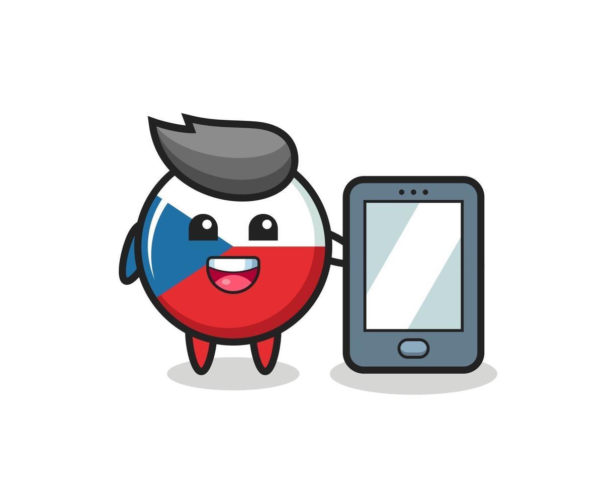 dibujos animados de ilustración de insignia de bandera checa sosteniendo un smartphone vector