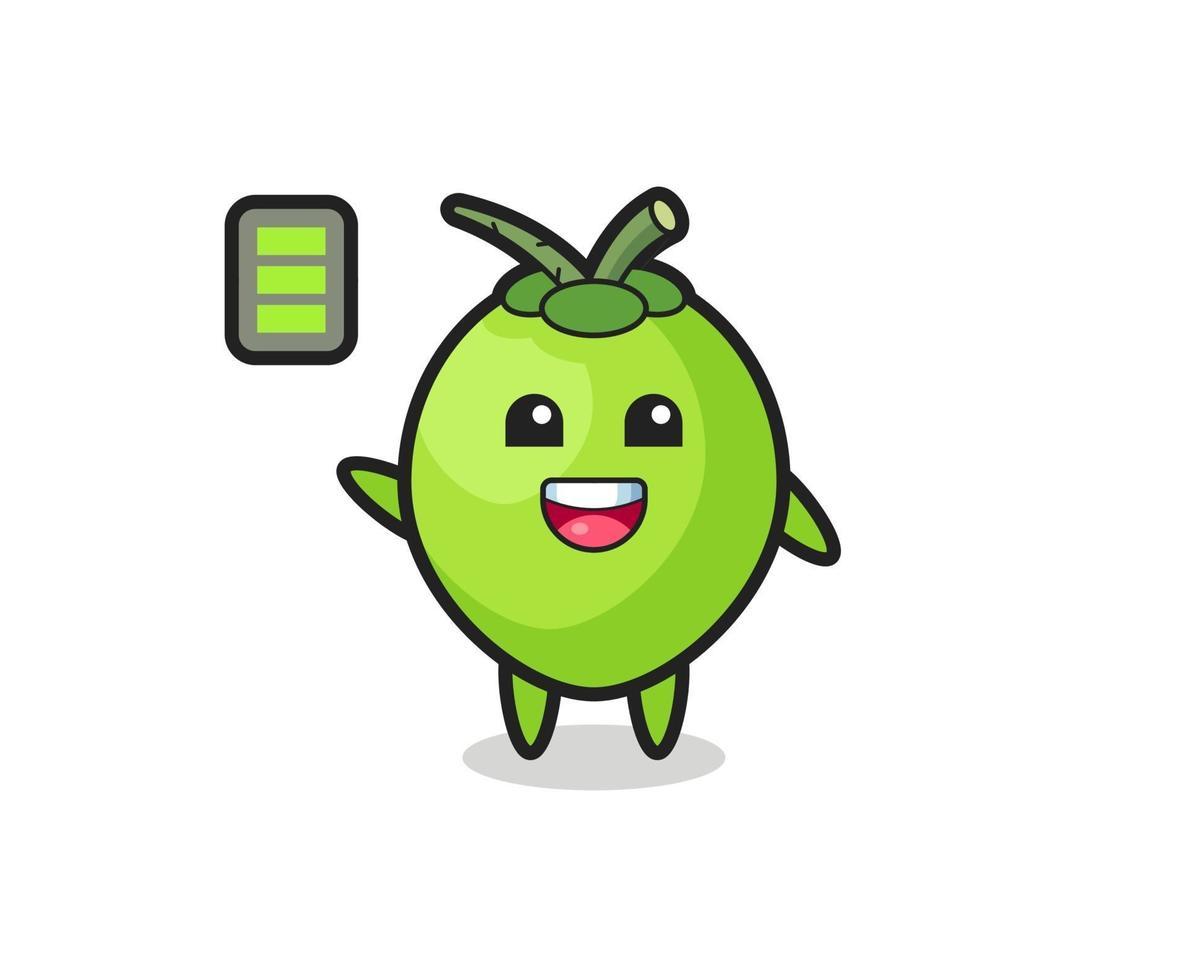 Personaje de mascota de coco con gesto enérgico. vector