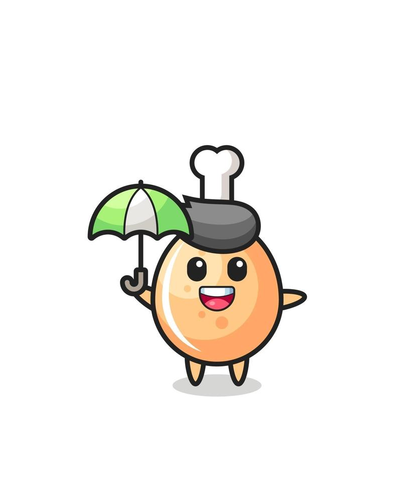 linda ilustración de pollo frito sosteniendo un paraguas vector